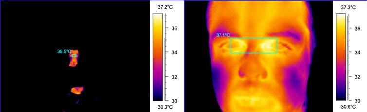 مقارنة بين صورتين حراريتين: صورة مأخوذة من مسافة 600 سم والأخرى من مسافة 70 سم.